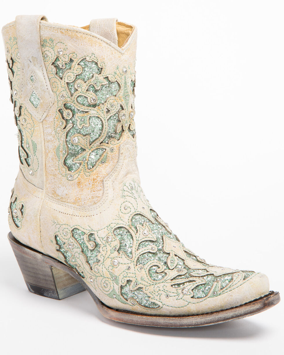 Corral Women's Metallic Green Glitter Inlay & Crystals Boots - Snip Toe, White, hi-res