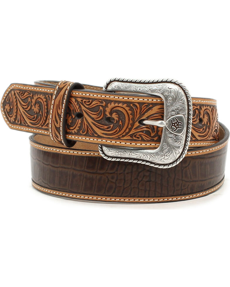 Ariat Men's Croc Embossed Leather Belt, Brown, hi-res