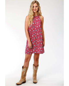 Roper Women's Cactus Print Trapeze Dress, Red, hi-res