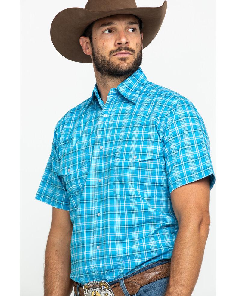 Wrangler Men's Wrinkle Resist Small Blue Plaid Short Sleeve Western Shirt , Blue, hi-res