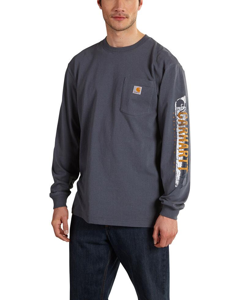 Carhartt Workwear Men's Saw Graphic Long Sleeve T-Shirt, Blue, hi-res