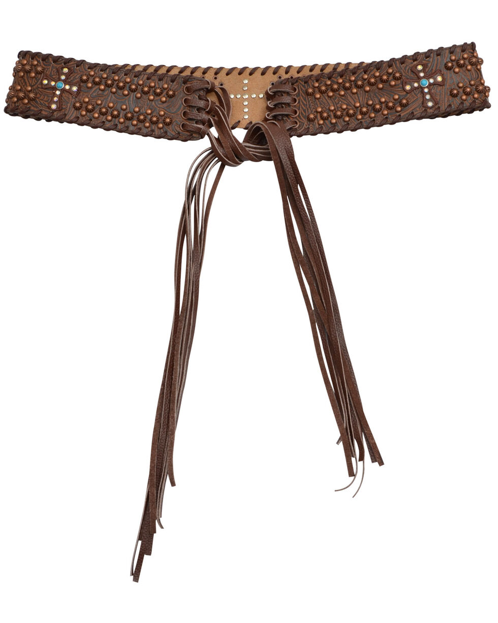 Angel Ranch Women's Cross Fringe Fashion Belt, Brown, hi-res