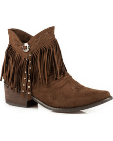 Roper Women's Fringe Suede Western Booties, Brown, hi-res
