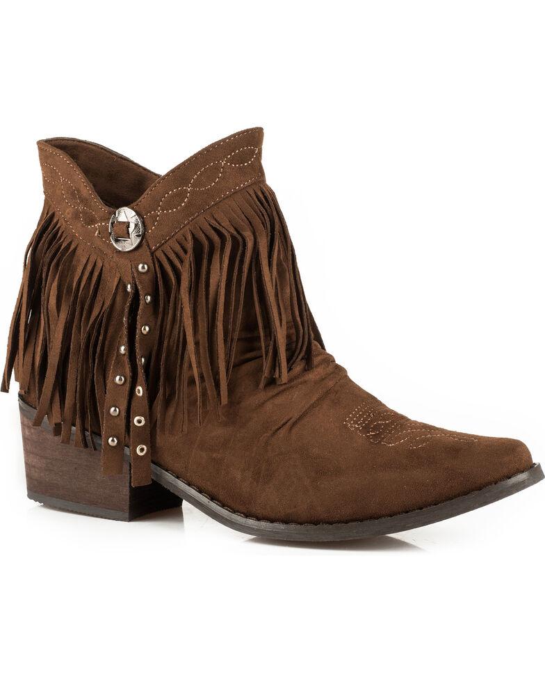 Roper Women's Fringe Suede Western Booties, Brown, hi-res
