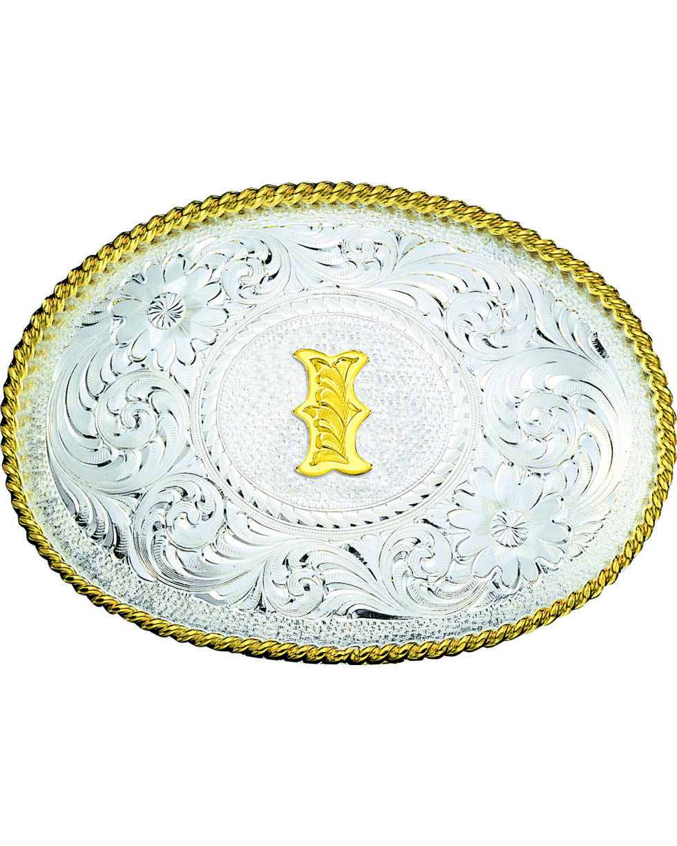 Montana Silversmiths Engraved Initial I Western Belt Buckle, Multi, hi-res