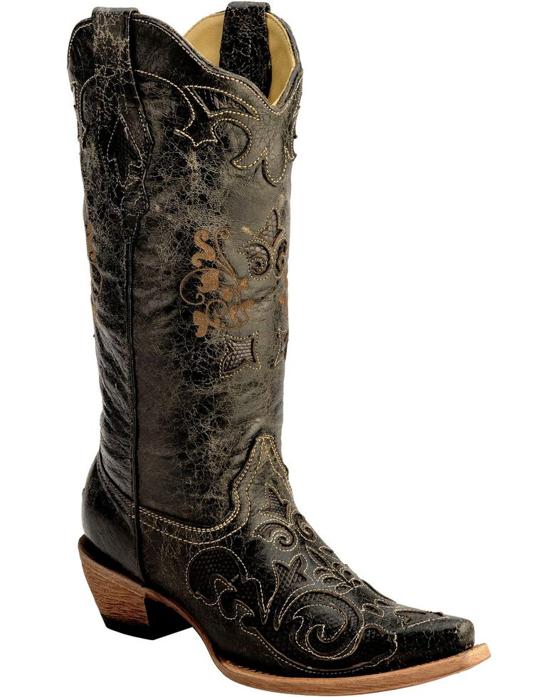 Corral Women's Lizard Inlay Snip Toe Exotic Boots, Black, hi-res