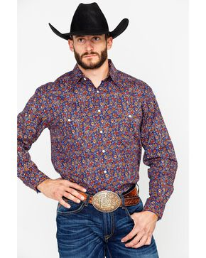 Panhandle Men's Galena Vintage Print Long Sleeve Western Shirt, Navy, hi-res