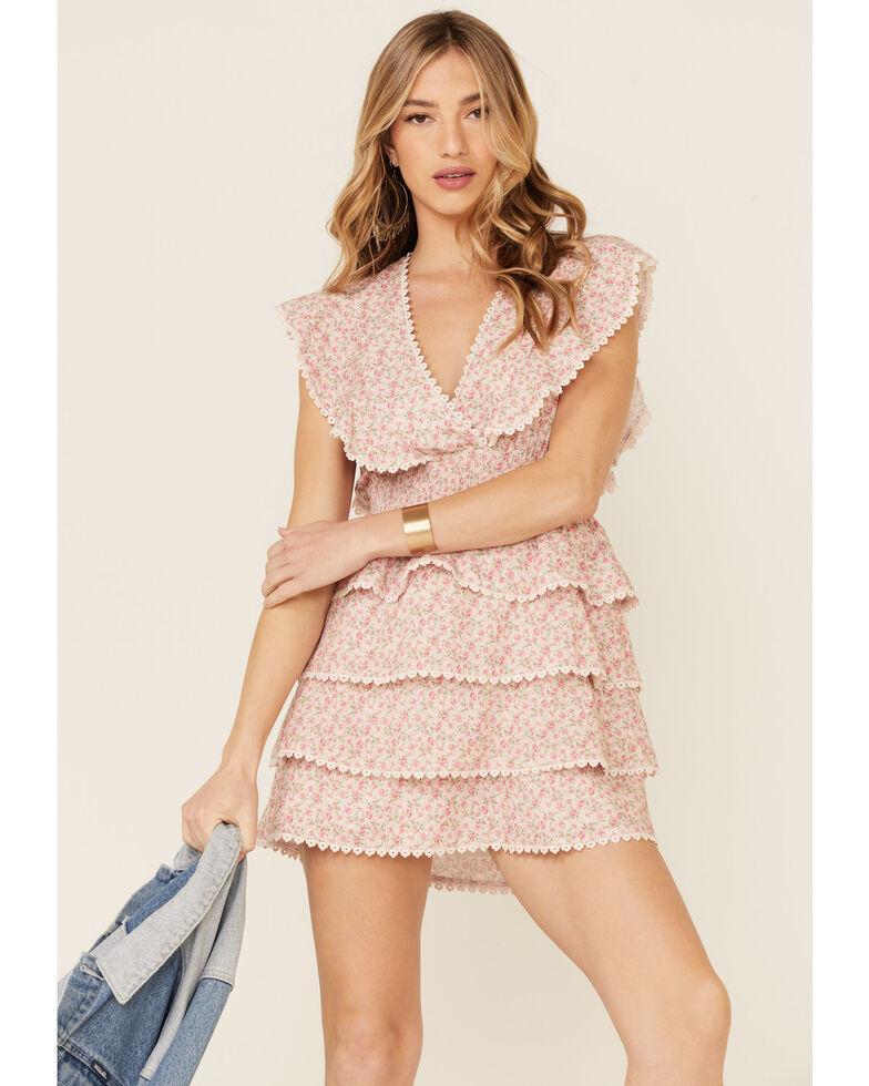 Show Me Your Mumu Women's Floral Sweet Ruffle Mini Dress, Pink, hi-res