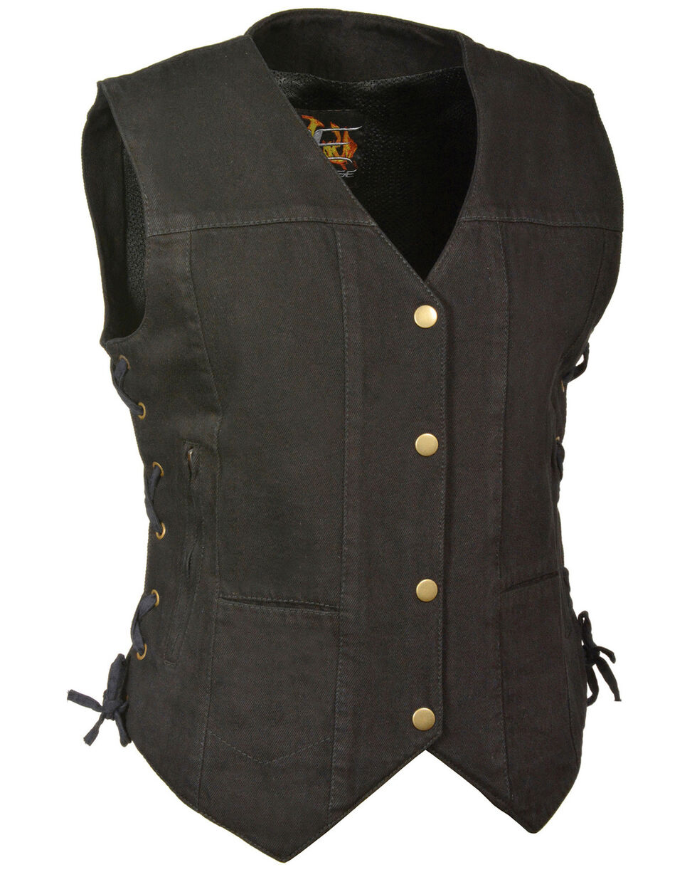 Milwaukee Leather Women's 6 Pocket Side Lace Denim Vest, Black, hi-res