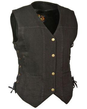 Milwaukee Leather Women's 6 Pocket Side Lace Denim Vest - 3X/4X, Black, hi-res