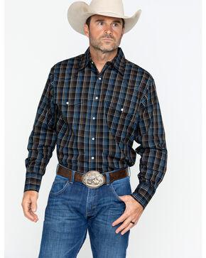 Wrangler Men's Long Sleeve Wrinkle Resist Mini Plaid Shirt , Black/blue, hi-res