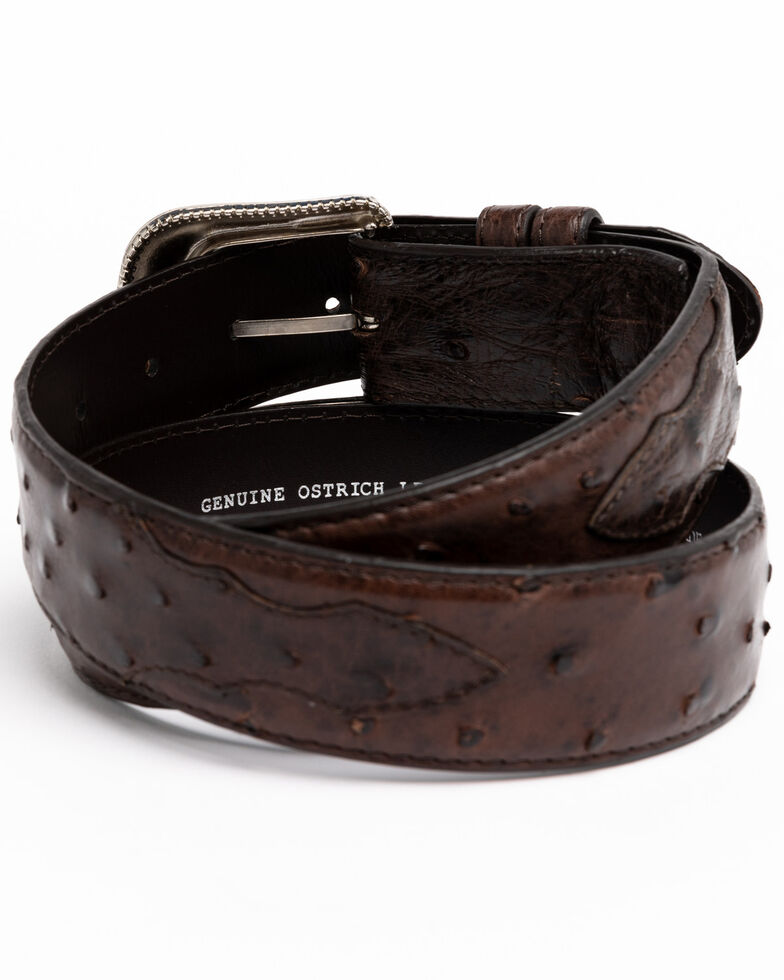 Cody James Men's Chocolate Full Quill Ostrich Exotic Belt , Chocolate, hi-res