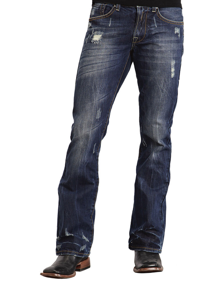 Stetson Men's Rocker Fit Straight Leg Jeans, Dark Stone, hi-res