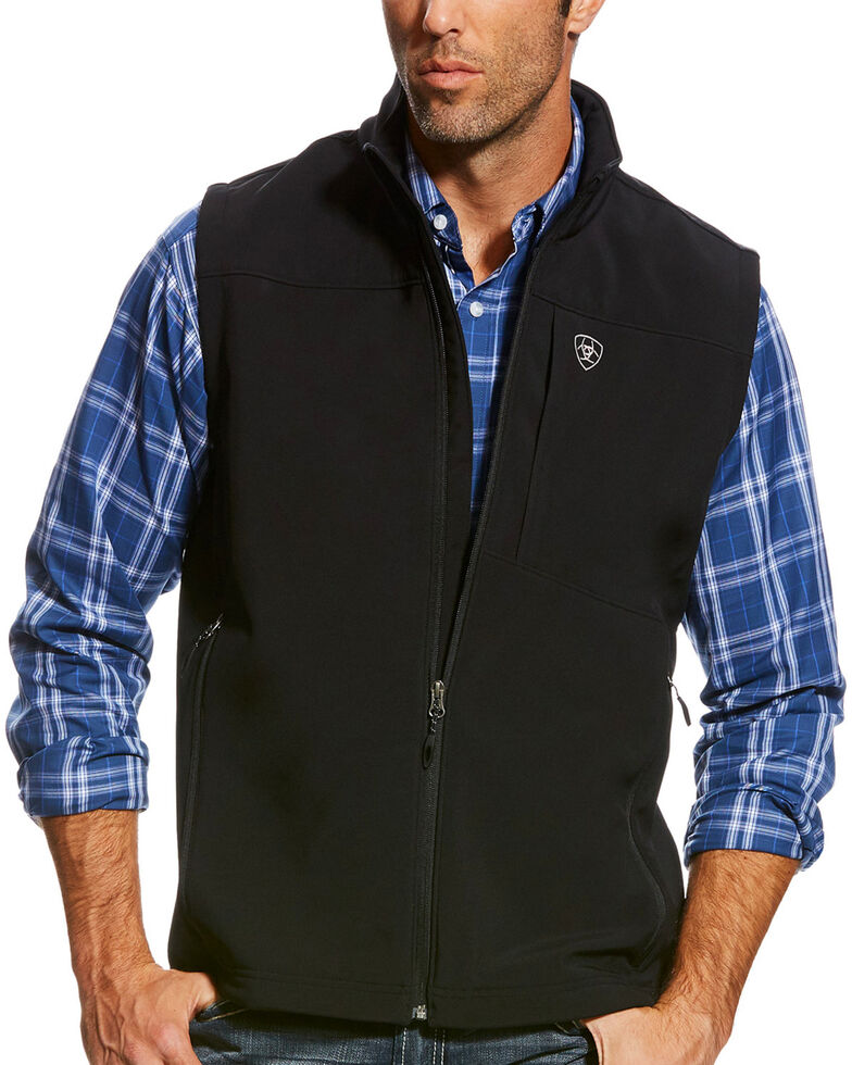 Ariat Men's Black Vernon Softshell Logo Vest, Black, hi-res