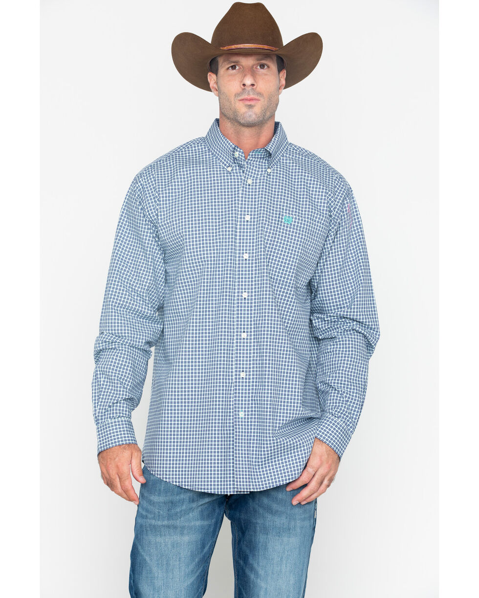 Cinch Men's Small Plaid Button Long Sleeve Western Shirt , Wine, hi-res