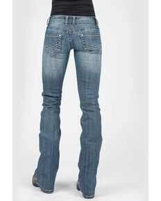 Stetson Women's 818 Medium Hollywood Decorative Pocket Bootcut Jeans, Blue, hi-res