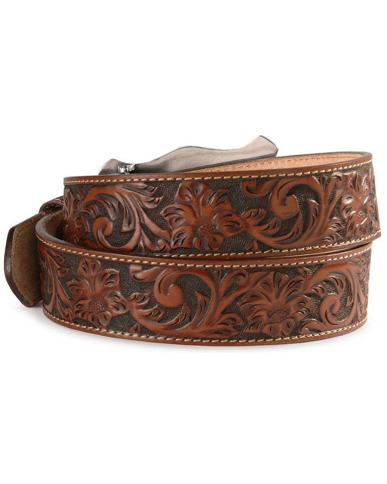 Justin Men's Floral Tooled Leather Belt, Tan, hi-res