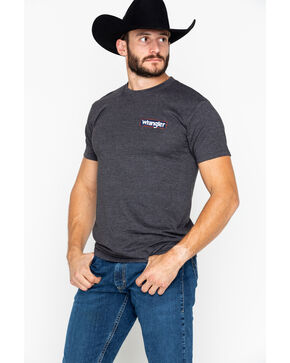 Wrangler Men's Charcoal Heather Logo T-Shirt, Charcoal, hi-res