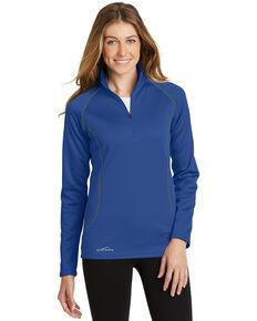 Eddie Bauer Women's Cobalt Blue Smooth Fleece 1/2 Zip Base Layer  , Blue, hi-res