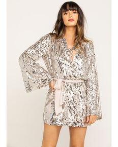 Show Me Your Mumu Women's Sequin Giselle Kimono Dress, Silver, hi-res