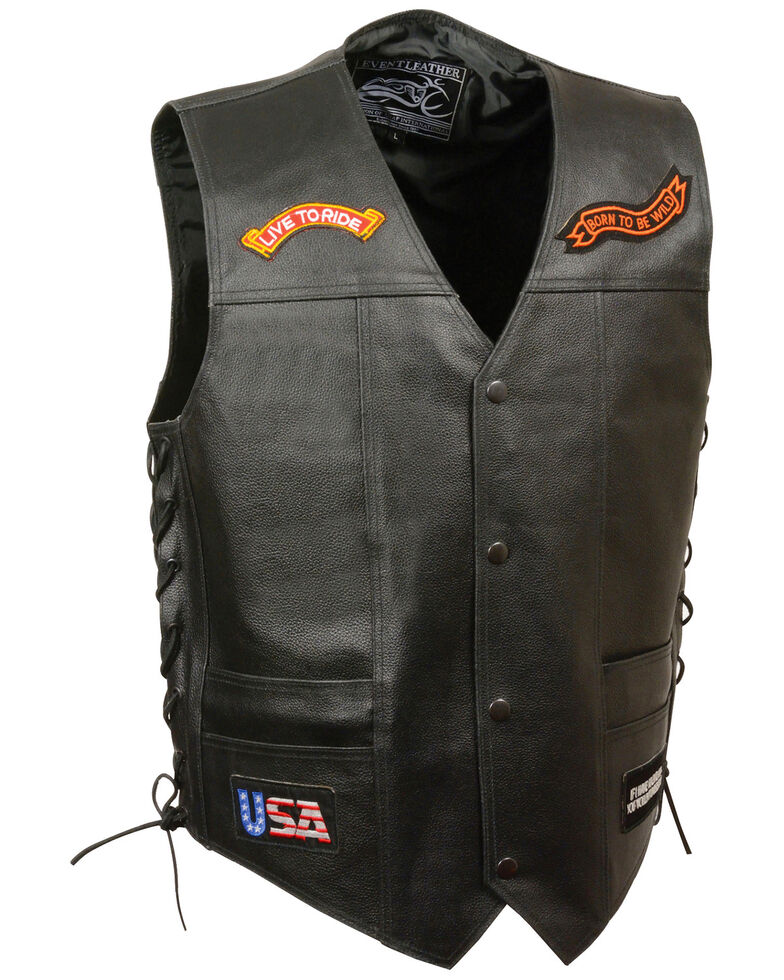 """Milwaukee Leather Men's Side Lace """"Live to Ride"""" Patch Vest - 5X, Black, hi-res"""