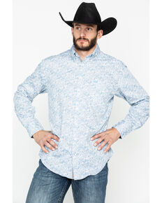 Panhandle Men's Rough Stock Corsico Vintage Print Long Sleeve Western Shirt , Grey, hi-res