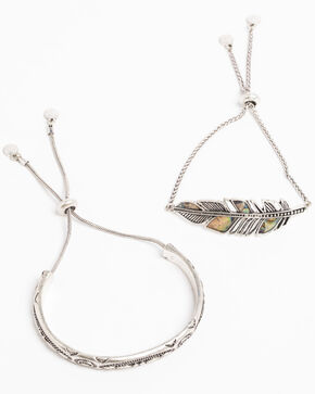 Shyanne Women's Bella Feather Abalone Bracelet Set, Silver, hi-res