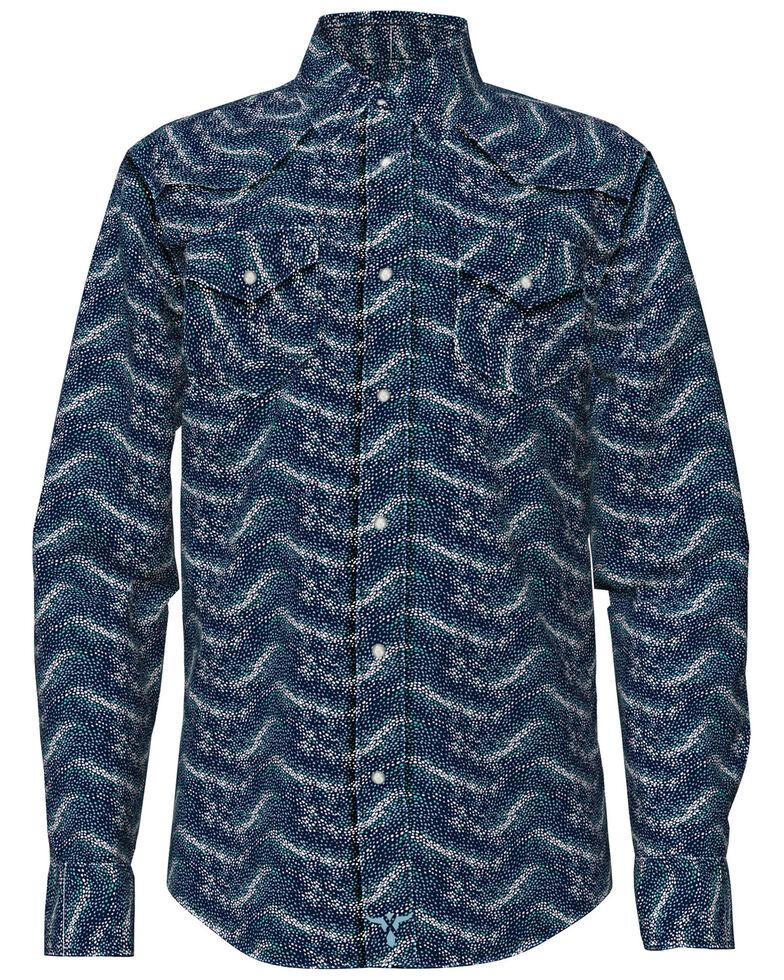 Wrangler 20X Boys' Blue Sport Print Long Sleeve Snap Western Shirt, Blue, hi-res