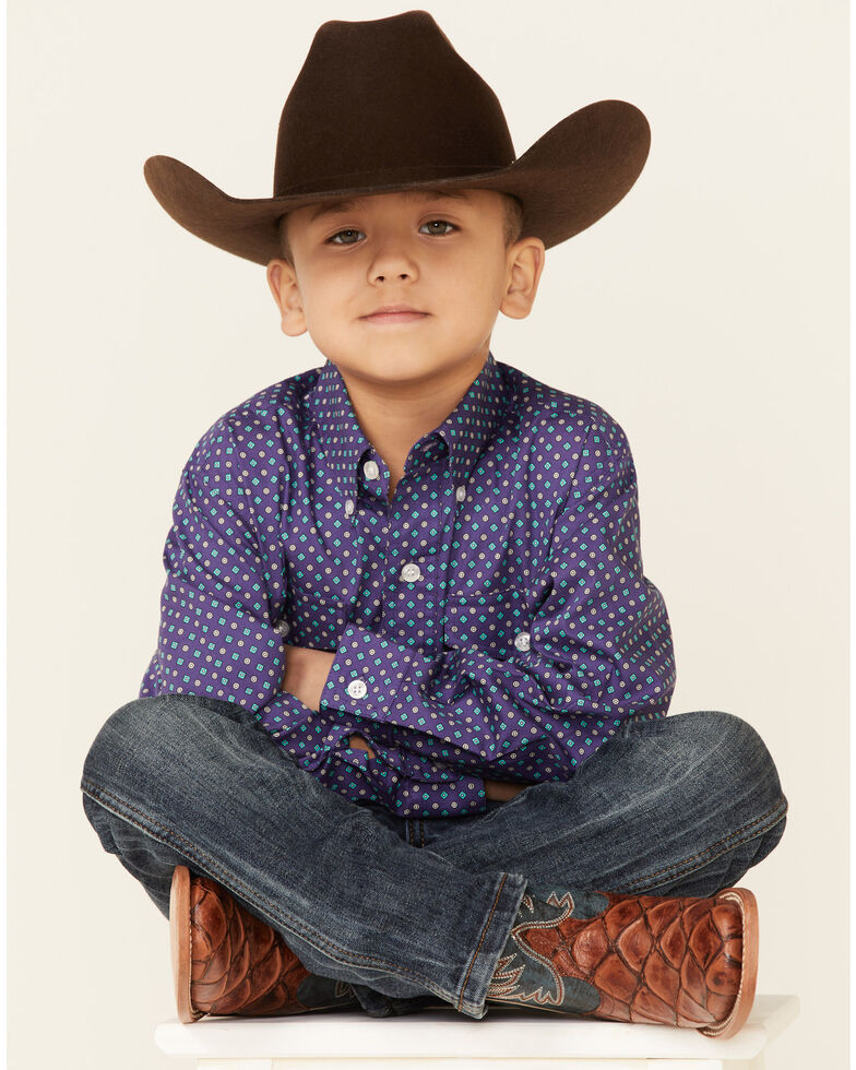 Amarillo Boys' Wildwood Mini Paisley Print Long Sleeve Button-Down Western Shirt , Purple, hi-res