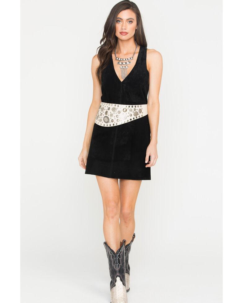 MI.OH.MI. Women's Suede Sleeveless Dress, Black, hi-res