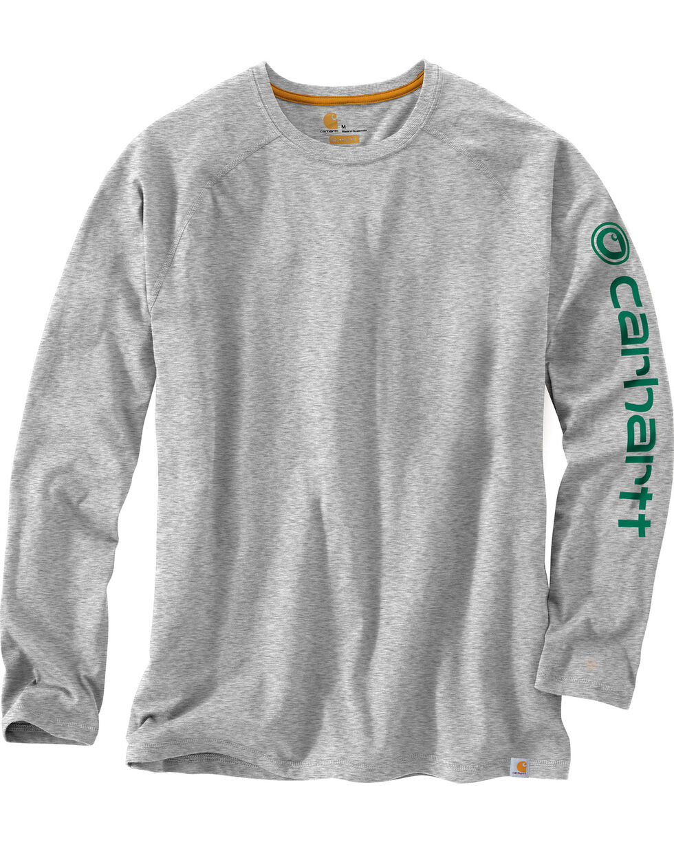 Carhartt Men's Force Cotton Delmont Long Sleeve Graphic T-Shirt - Big & Tall, Grey, hi-res