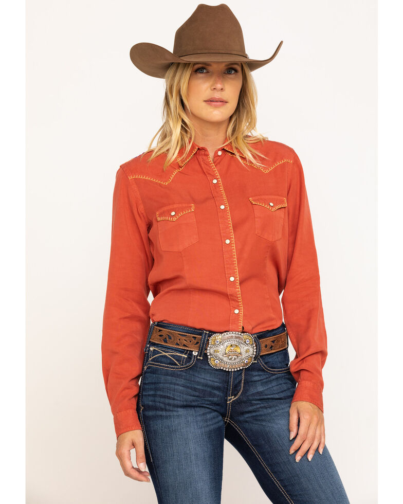 Rough Stock by Panhandle Women's Rust Embroidered Long Sleeve Western Shirt, Rust Copper, hi-res