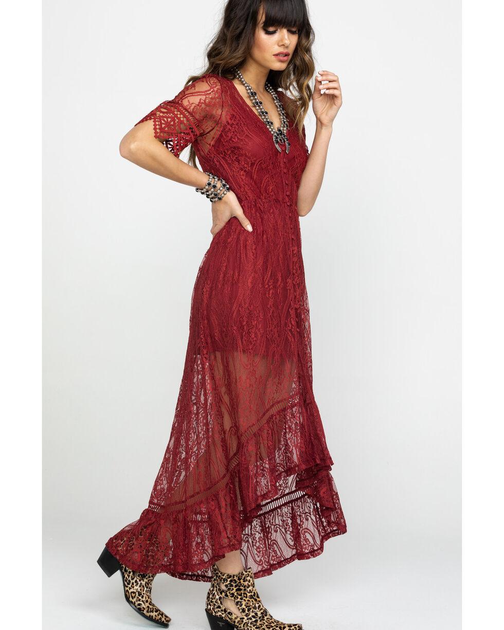 Shyanne Women's Allover Lace Button Front Maxi Dress, , hi-res