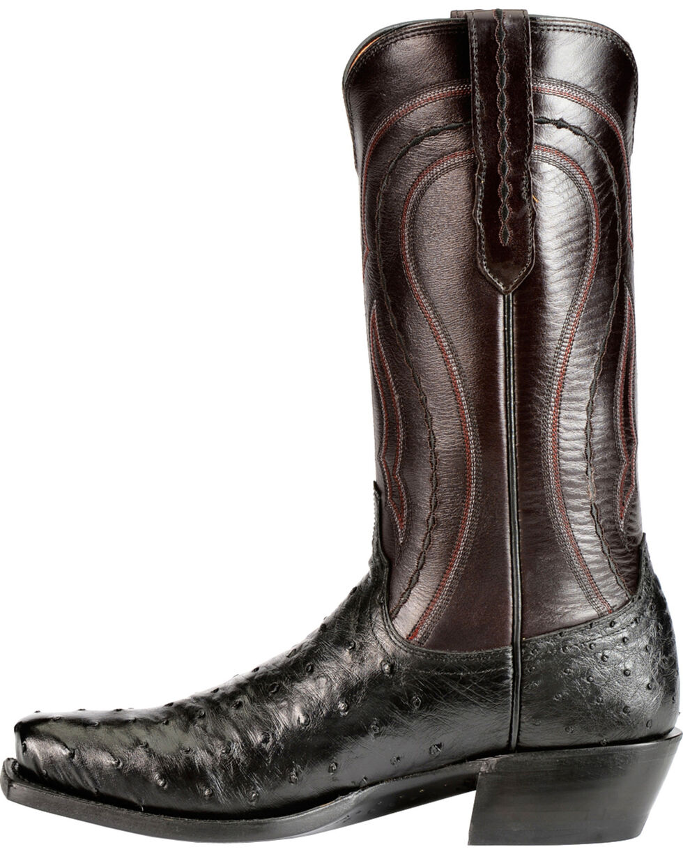 Lucchese Men's Montana Roper Toe Full Quill Ostrich Exotic Boots, Black, hi-res