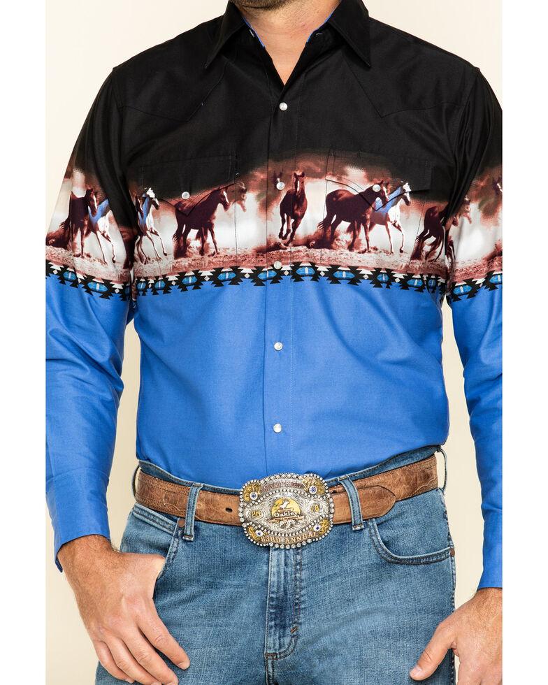 Ely Cattleman Men's Black Horse Border Print Long Sleeve Western Shirt , Black, hi-res