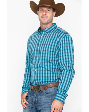 Cody Core Men's Mountain Slim Plaid Long Sleeve Western Shirt , Turquoise, hi-res