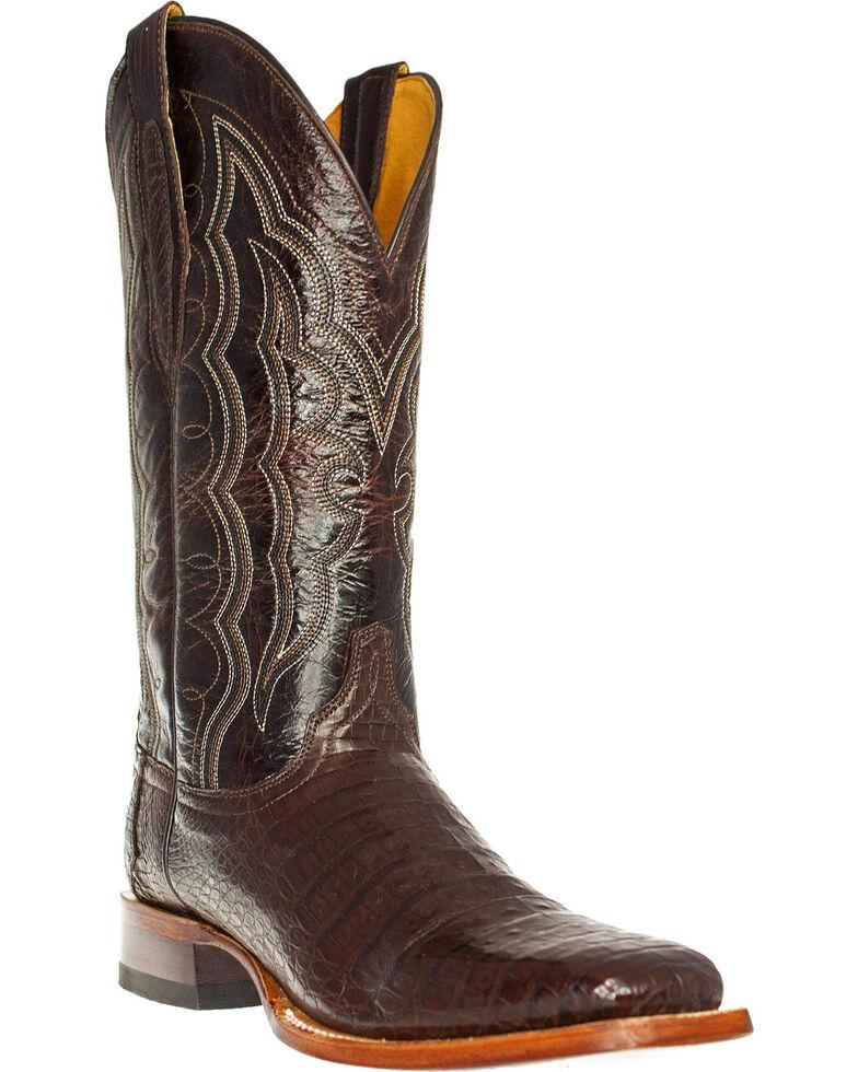 Cinch Men's Caiman Belly Square Toe Exotic Boots, Mahogany, hi-res