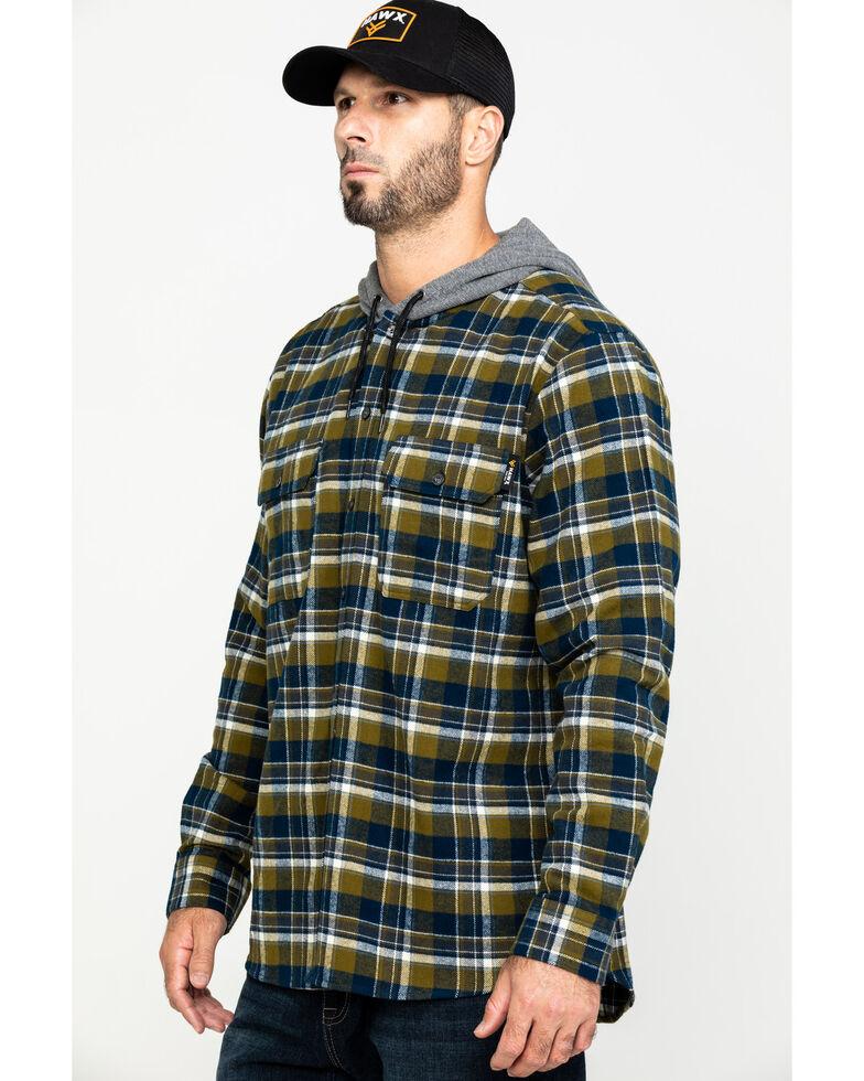Hawx Men's Grey Hooded Flannel Shirt Work Jacket - Tall , Grey, hi-res