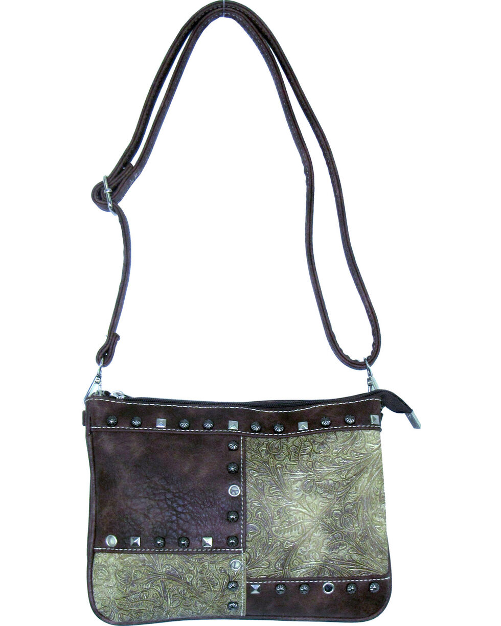 Savana Women's Fuax Leather Patchwork Crossbody Bag , , hi-res