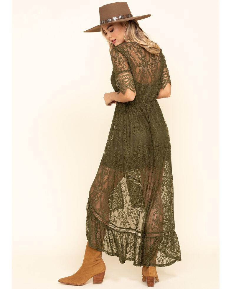 Shyanne Women's Ivory Lace Button Down Hi-Lo Maxi Dress, Olive, hi-res