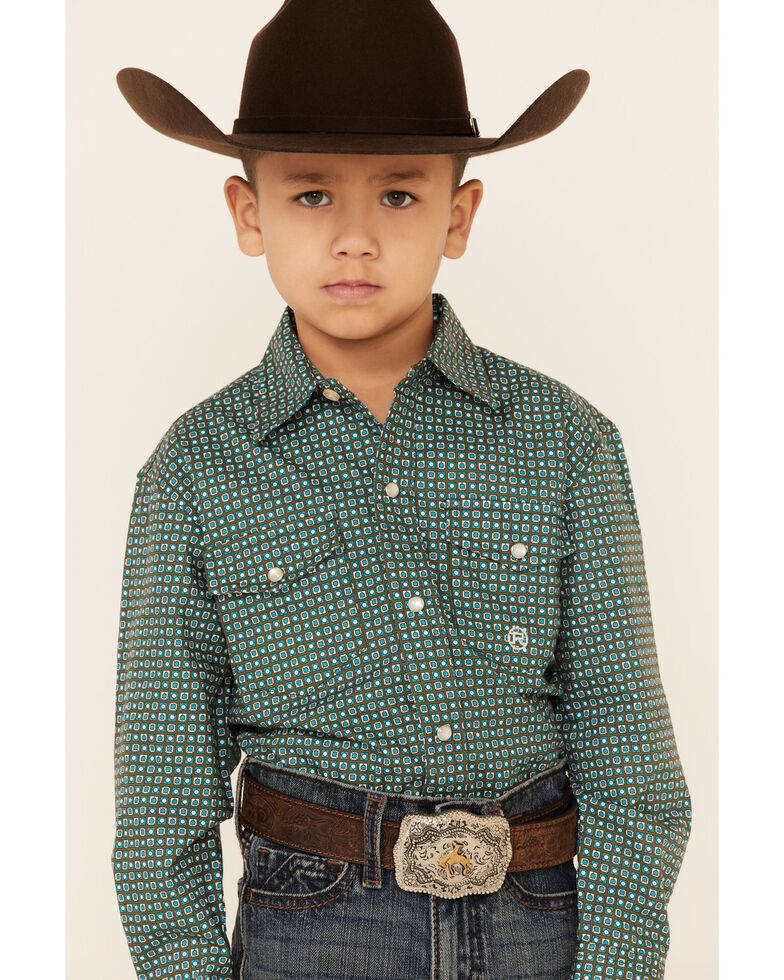 Amarillo Boys' Cool Pines Block Geo Print Long Sleeve Snap Western Shirt , Green, hi-res
