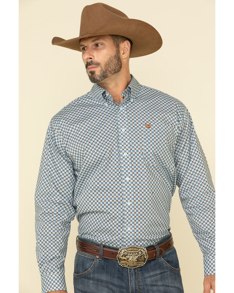 Cinch Men's Light Blue Stretch Floral Geo Print Long Sleeve Western Shirt , Light Blue, hi-res