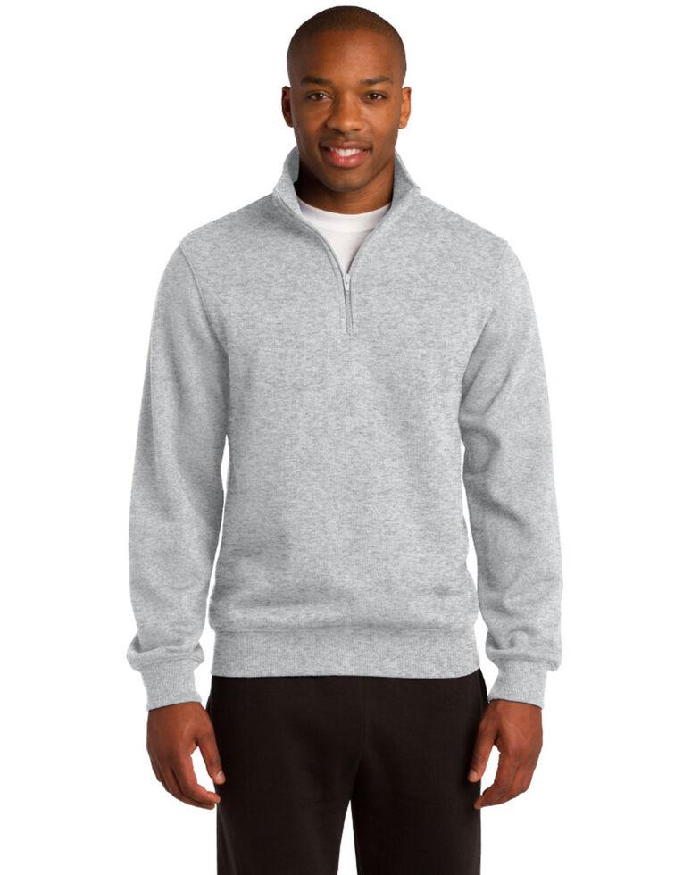 Sport Tek Men's Heather Grey 1/4 Zip Pullover Work Sweatshirt , Grey, hi-res