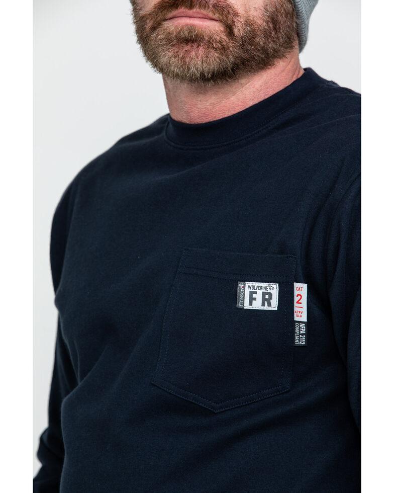 Wolverine Men's FR Texas Graphic Long Sleeve Pocket Work Shirt , Navy, hi-res