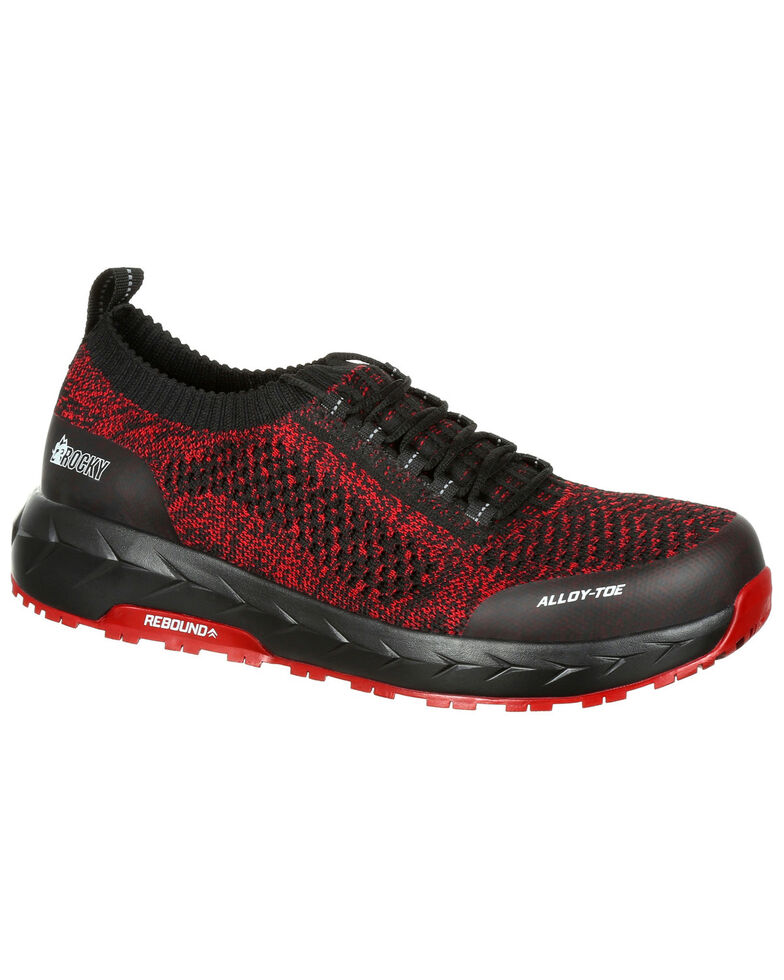 Rocky Men's WorkKnit LX Athletic Work Shoes - Alloy Toe, Black/red, hi-res