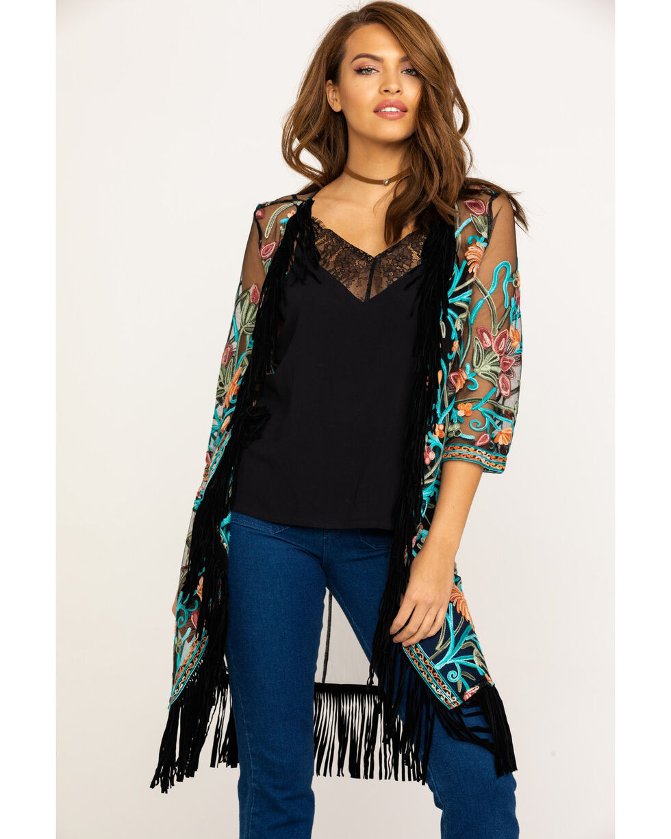 Shyanne Women's Black Embroidered Mesh Kimono Vest, , hi-res