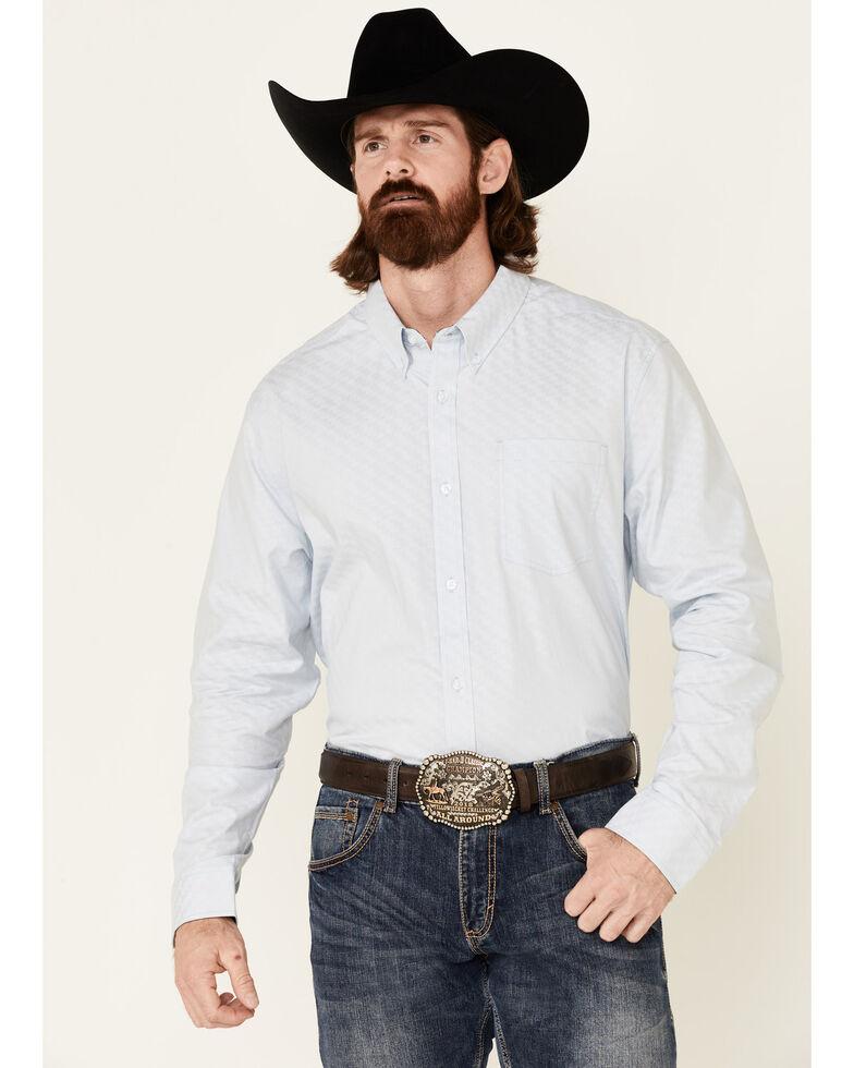 Cody James Core Men's Escalate Geo Print Long Sleeve Button-Down Western Shirt  , Light Blue, hi-res