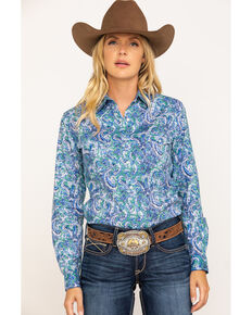 Rough Stock by Panhandle Women's Bellaria Vintage Print Long Sleeve Western Shirt, Multi, hi-res