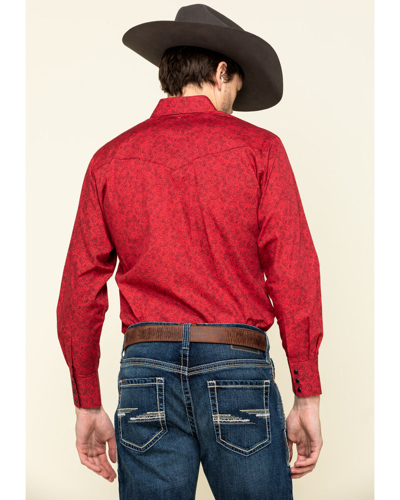 Ely Cattleman Men's Red Paisley Print Long Sleeve Western Shirt , Red, hi-res