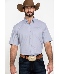 Ariat Men's Steel Solid VentTEK Short Sleeve Western Shirt , Grey, hi-res